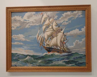Vintage Paint by Number  Sailing Ship,Ocean Scene,Water Scene,Beach House Decor,