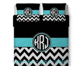 ON SALE Circle Monogram Bedding and Sham(s) -  Black and white Chevron with Accent - Personalize with Name or Monogram - Create your Bedding