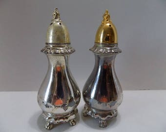 Vintage Reed and Barton Provincial Gold Plated Salt & Pepper Shakers Original Box