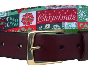 Christmas Patchwork Leather Belt /Ugly Christmas Sweater Belt/Leather Belt /Canvas Belt /Preppy Belt for Men/Holiday Patchwork Belt