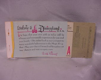 Very Old Disneyland Admissions Booklet Originally 4.25 One Ticket Remains