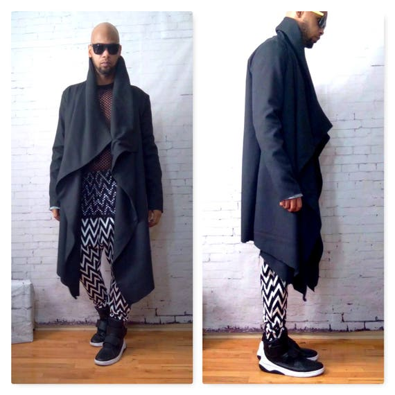Wool Blend Asymmetrical Drape  Front Jacket-Black- Inspired By Y3, Yeezy, Helmut Lang, RICK OWENS