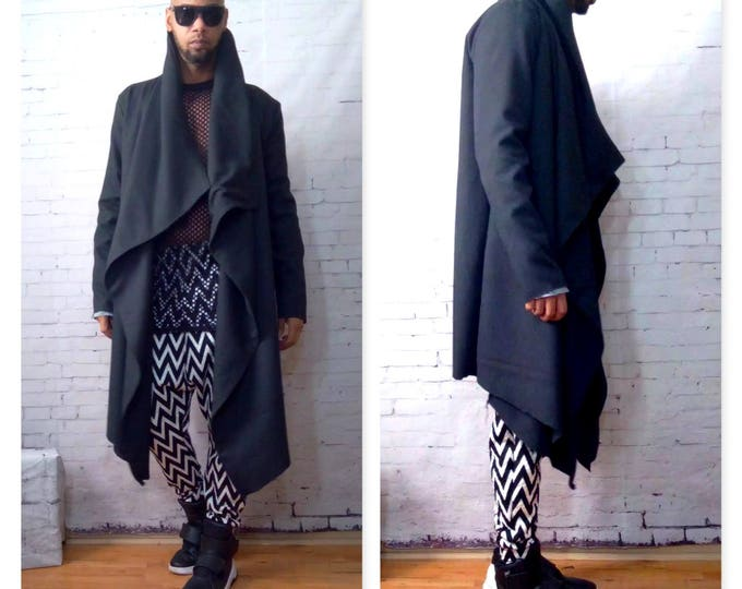 Wool Blend Asymmetrical Drape  Front Jacket-Black- Inspired By Y3, Yeezy, Helmut Lang, RICK OWENS