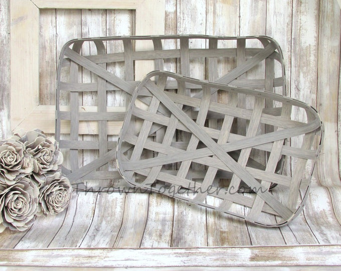Tobacco Baskets, Farmhouse Baskets, Handmade Gray Tobacco Baskets, Gallery Wall Basket, Rustic Home Decor, Decorative Basket Set