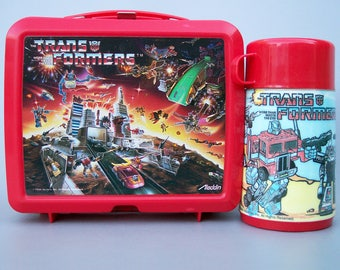 Vintage 1986 Transformers Plastic Lunchbox Complete with Thermos C8