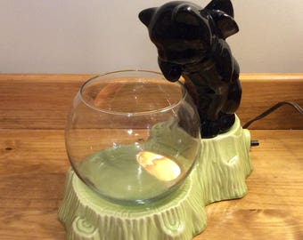 Vintage Black Cat over Fishbowl with Lamp