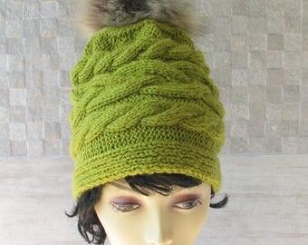 Women Knit Hat with pom pom, Greenery Slouchy Beanie - Womens Hat - Pom Pom Hat - Chunky Knit Hat - Winter Beanie Hat