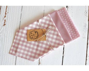 Lot of 3 handkerchiefs joined pink organic cotton, gingham, peas, zero waste, ecological and economic.
