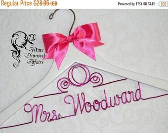 SUMMER SALE Cinderella Fairytale Coach Wedding Dress Hanger, Personalized Disney Princess Carriage Themed Bridal Hanger, Wire Name Hanger, B