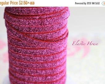 """Xmas SALE 15% OFF 3/8"""" Glitter Elastic  - Fuchsia Color - Velvet Glitter Elastic - Fuchsia Glitter Elastic - Pink Fuchsia Elastic -Hair Acce"""