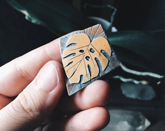 Monstera Leaf Pendant I - Silver and Brass Necklace