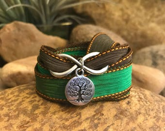 Tree infinity silk ribbon wrap bracelet. Great gift for yoga enthusiasts.
