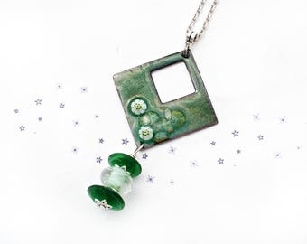 enamel on copper necklace glass bead spun Green