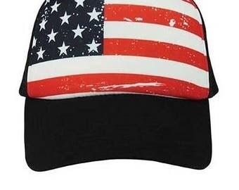 Custom American Flag Red White Blue on Black Trucker Snapback Hat Flat Bill