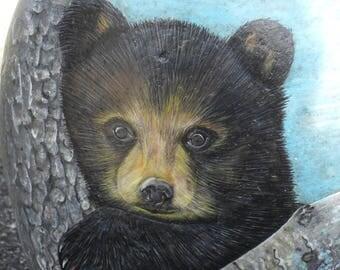 Black Bear Cub River Rock OOAK