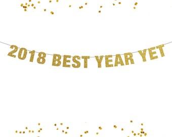 2018 Best Year Yet Banner, Glitter Banner, Photo Prop, Pop Clink Fizz, Bubbly Bar, Chin Chin, Salud, New Year Banner Decor