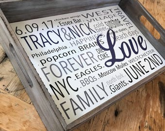 Personalized WOOD & METAL Tray- 18X12 - STAINED Wood Finish.  Perfect Serving Tray for your Rustic or Farmhouse Decor
