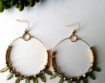 Bead Earrings, Fern Green and Bronze Bead Hoop Earrings