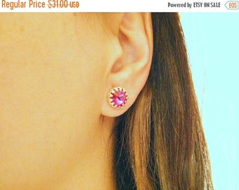 SALE - Gold ruby studs - Ruby earring - Ruby post earrings - Pink studs - Ruby jewelry - Bridesmaids gift - Bridesmaids jewelry