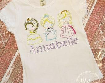Vintage Stitch Princess Inspired Tee - Custom Embroidered Shirt - Princess shirt - Custom Tee 2