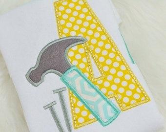 Hammer & Tools Birthday Shirt - Tools Birthday Shirt -  Custom Tee Personalized Birthday Tee 58