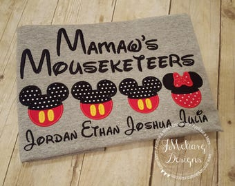 Gorgeous Custom embroidered Disney Mousketeers Shirts for the Family! 847a