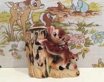Vintage Kitsch Deer and Fawn Vase