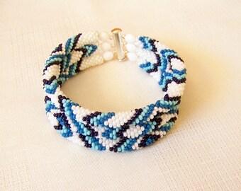 3 Strand Bead Crochet Rope Bracelet in white and blue - Beadwork bracelet - wrap bracelet - beaded jewelry - beaded bracelet