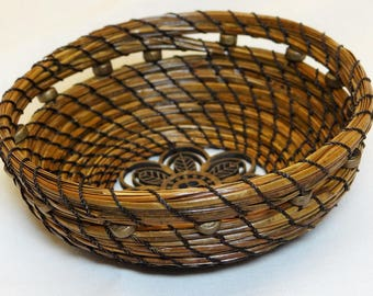 Brown Pine Needle Basket Brown Beaded Pine Needle Basket Pine Coiled Basket Native American Basket Basket For Him Basket For Her