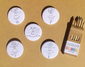 """Set of 5 badges coloring """"Dancer"""""""