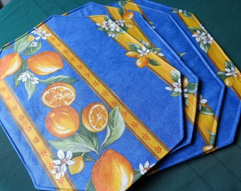 Placemats. Set of placemats. Oilcloth , cotton coated.Fabric from Provence, France. Big lemons in blue.