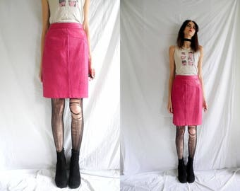 80's rocker lipstick pink high waisted burn out leaf pattern leather skirt.