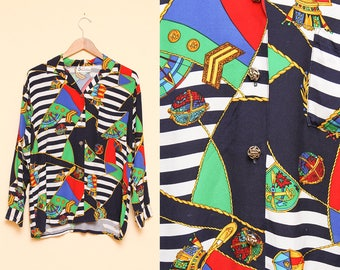 Nautical Print Blouse // Colorful Striped Top // 1980s Map Pattern Rope Baroque Anchor Unique Size Medium