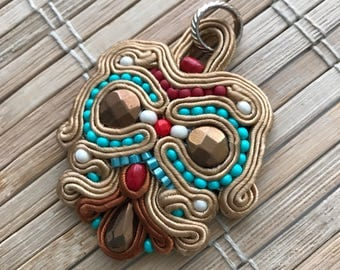 The Owl. Handmade soutache pendant. Vegan friendly. Handmade gift. Vegan gift. Turquoise, gold, red, brown.
