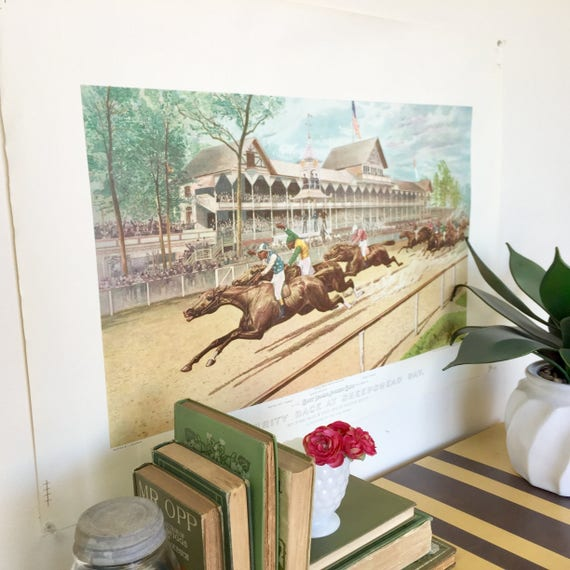 Horse Racing Picture - Currier and Ives Print - 1988 Maurer Homeart - New York Horse Racing History - Horse Racing Jockey - Large Wall Decor
