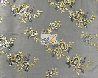 """Sunset Floral Sequins Scalloped Edges Lace Fabric - BLACK/GOLD - 50/52"""" Width Sold By The Yard Evening Dress Gown Fashion"""