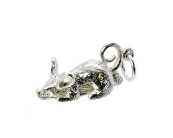 Sterling Silver Opening Cat In Mouse  Charm For Bracelets