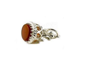 Sterling Silver & Cornelian Fob Charm For Bracelets