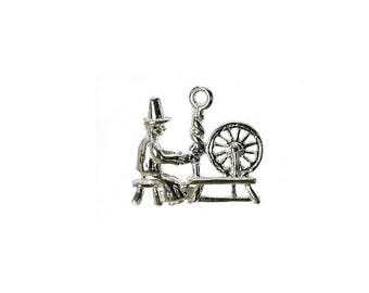 Sterling Silver Spinning Jenny Charm For Bracelets