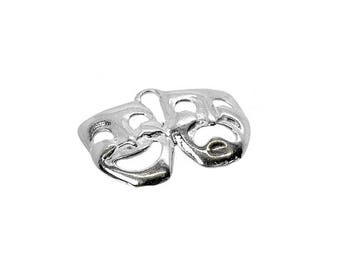 Sterling Silver Theatre Mask Charm For Bracelets