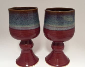 Red Brown and Cream Wine Goblets Set