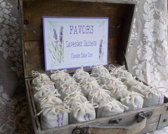 Lavender Sachets with Rustic Trunk Display, Wedding Favors, Shower Favors, Bridesmaids Gifts, Bridal Shower Favors, Holiday Gifts Set of 20