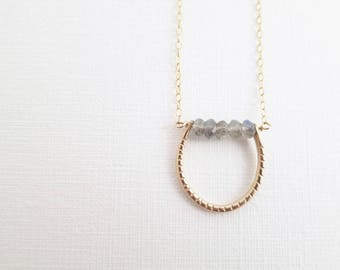 Labradorite Bar and Gold U Necklace | 14K Gold Filled