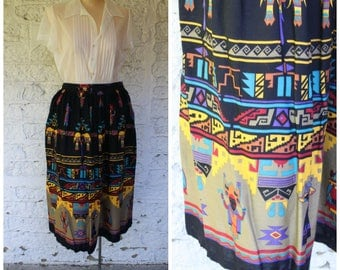 1980s Ethnic Skirt / Vintage Tribal Skirt / 80s Southwest Skirt / Exotic Tribe Skirt / Vintage Southwestern Skirt / Vintage Aztec Skirt S/M