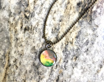 Watercolor pendant necklace in green yellow peach grey