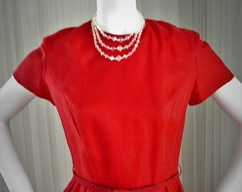 Vintage Red Chiffon Dress by Geary Roark