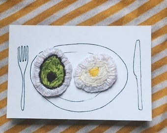 Veggie breakfast embroidered pin badge set