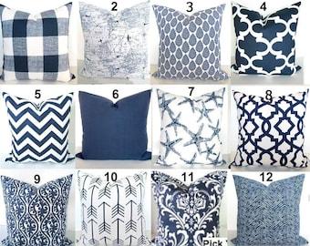 Blue Throw Pillows Navy Blue Pillow Covers Navy Blue Decorative Pillows Dark Blue Chevron Throw Pillow Covers .ALL SIZES. Lumbar Home Decor
