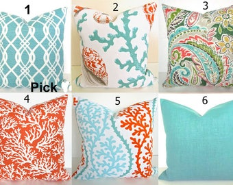 coral pillows coral outdoor throw pillow covers orange coral aqua mint green indoor outdoor pillow covers