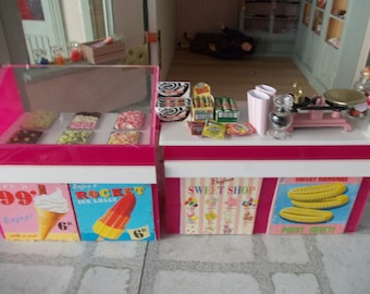 1 12th scale dolls house Ice Cream shop Display, Counter, and sweet shop counter